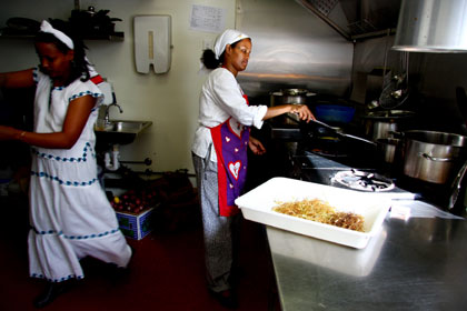 Aster Negusse and Hayat Mohammad work in MuOoz restaurant. Photo: Michelle Smith