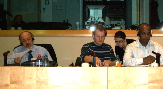 From left to right: Mr. Michel, Mr. Schlyter, unidentified person, and Esayas Isaak at the hearing