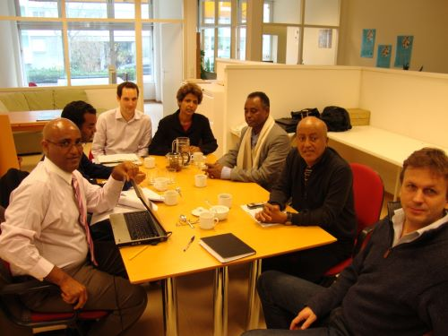 Semere Habtemariam, Abdulraziq Kerrar, Floriane Irminger of Human Rights House Foundation Geneva office,  Elizabeth Chyrum, Yassin Mohammed Humad, Amha Domenico and Niels Jacob Harbitz of Human Rights House Foundation of Oslo office.